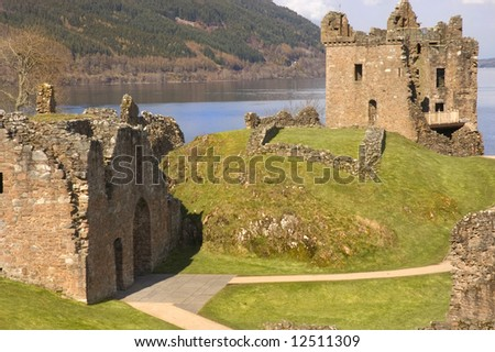 Urquhart Castle ruins at Loch Ness in Scotland, blown up in 1692 by the Clan Grant who owned it at the time, to stop it becoming a Jacobite stronghold - stock photo