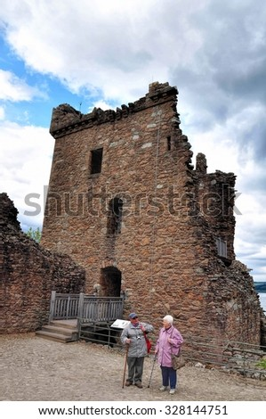URQUHART CASTLE, SCOTLAND - MAY 30 2013 : Ruins of Historic Urquhart Castle