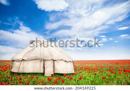 Urta nomadic house around poppy flowers on the field at spring time in central Asia - stock photo