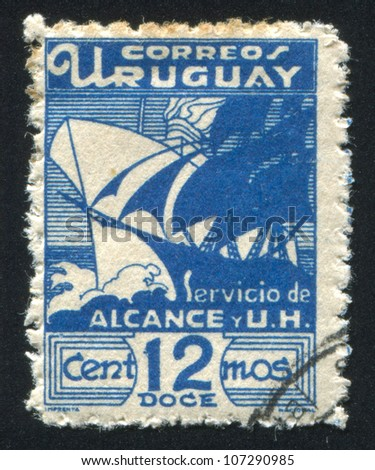 URUGUAY - CIRCA 1936: A stamp printed by Uruguay, shows Galleon and Modern Steamship, circa 1936