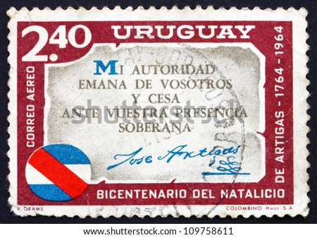 URUGUAY - CIRCA 1965: a stamp printed in the Uruguay shows Artigas Quotation, Jose Artigas, Leader of the Independence Revolt Against Spain, circa 1965 - stock photo