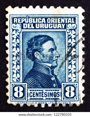 URUGUAY - CIRCA 1928: a stamp printed in the Uruguay shows Jose Gervasio Artigas Arnal National Hero of Uruguay, General and Patriot, circa 1928 - stock photo