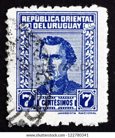 URUGUAY - CIRCA 1948: a stamp printed in the Uruguay shows Jose Gervasio Artigas Arnal National Hero of Uruguay, General and Patriot, circa 1948 - stock photo