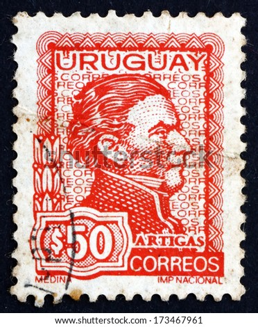 URUGUAY - CIRCA 1973: a stamp printed in the Uruguay shows Jose Gervasio Artigas Arnal National Hero of Uruguay, General and Patriot, circa 1973 - stock photo