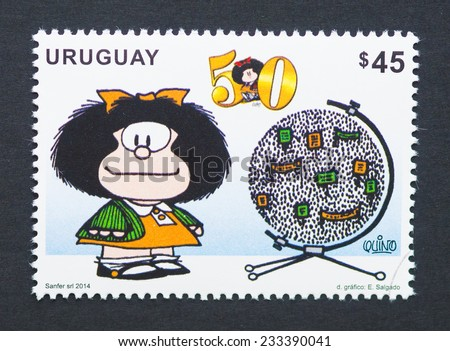 URUGUAY - CIRCA 2014: postage stamp printed in Uruguay showing an image of the cartoon character Mafalda, circa 2014.  - stock photo