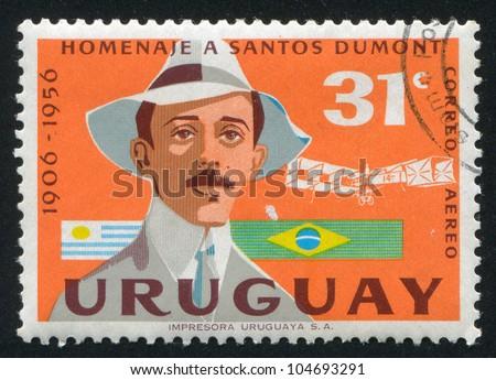 URUGUAY - CIRCA 1959: stamp printed by Uruguay, shows Alberto Santos Dumont, circa 1959 - stock photo