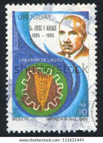 URUGUAY - CIRCA 1987: stamp printed by Uruguay, shows Doctor Jose Arias, circa 1987 - stock photo