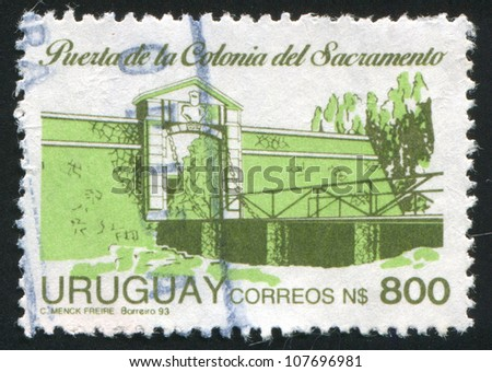 URUGUAY - CIRCA 1991: stamp printed by Uruguay, shows Entrance to Sacramento Colony, circa 1991