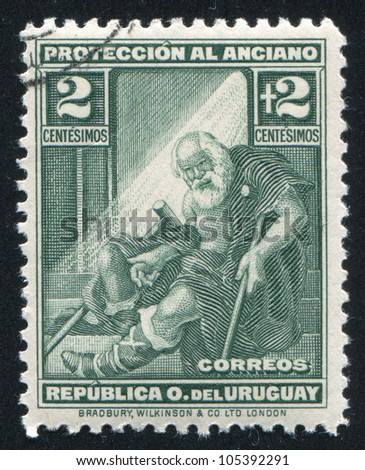 URUGUAY - CIRCA 1930: stamp printed by Uruguay, shows Indigent Old Man, circa 1930