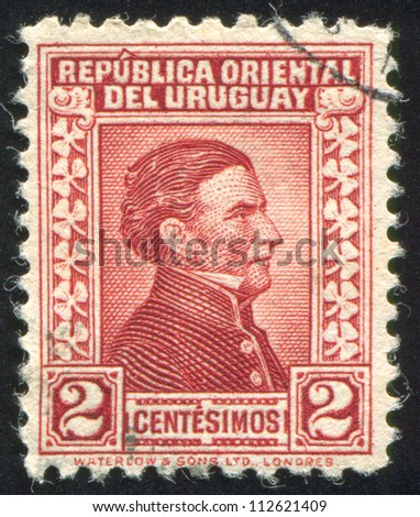 URUGUAY - CIRCA 1928: stamp printed by Uruguay, shows Jose Gervasio Artigas, circa 1928 - stock photo