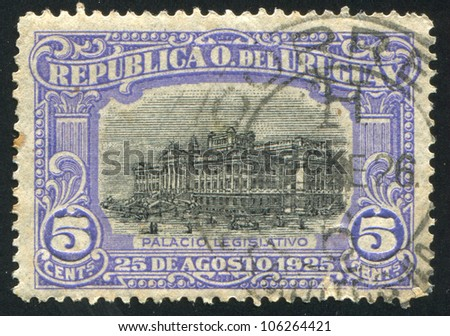 URUGUAY - CIRCA 1925: stamp printed by Uruguay, shows Legislative Palace, circa 1925
