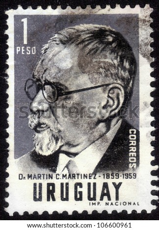 URUGUAY - CIRCA 1959: stamp printed by Uruguay, shows Martin C. Martinez, a lawyer and political figure in Uruguay, circa 1959 - stock photo