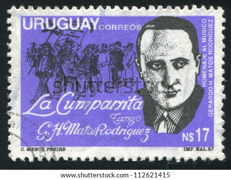 URUGUAY - CIRCA 1988: stamp printed by Uruguay, shows Musician Gerardo Matos Rodriguez and Parade, circa 1988