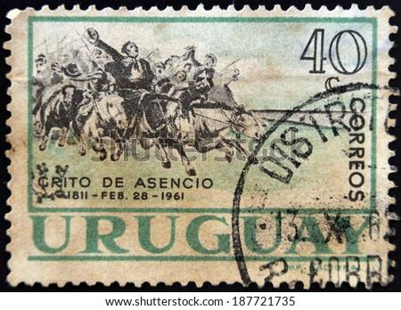 URUGUAY - CIRCA 1961: stamp printed in Uruguay shows Grito de Asencio, circa 1961  - stock photo