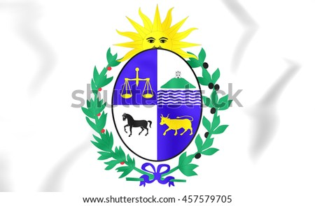 Uruguay Coat of Arms. 3D Illustration. - stock photo
