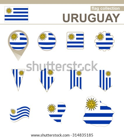 Uruguay Flag Collection, 12 versions, Rasterized Copy - stock photo