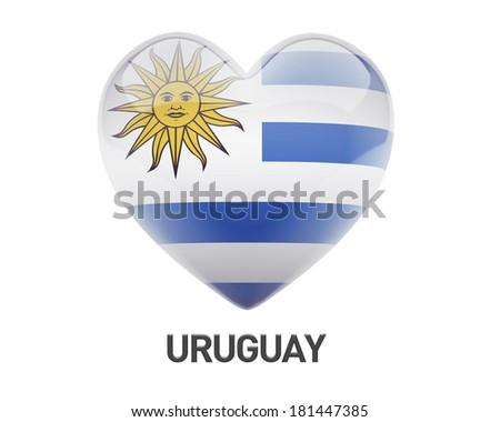 Uruguay Flag Heart Icon isolated on white background - stock photo