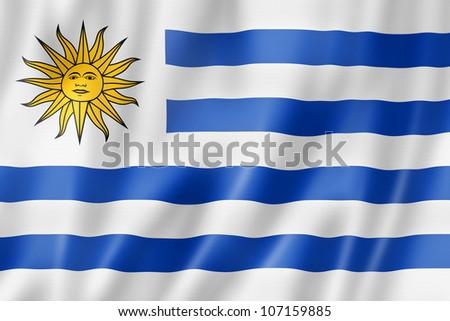 Uruguay flag, three dimensional render, satin texture - stock photo
