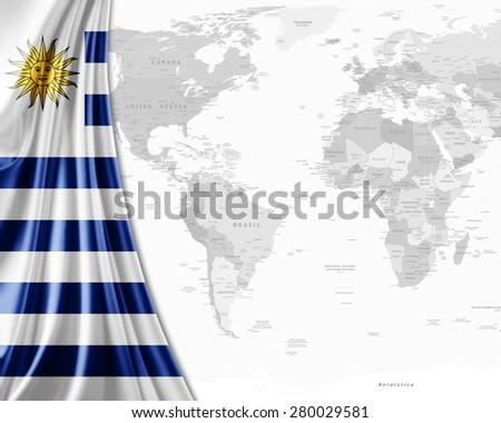Uruguay  flag,world map and white background - stock photo