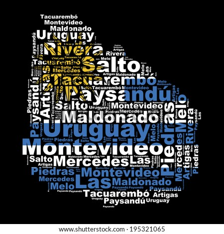 URUGUAY map and words cloud with larger cities