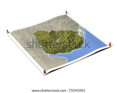 Uruguay on unfolded map sheet with thumbtacks. Map colored according to vegetation, with borders and major urban areas. Includes clip path for the background.