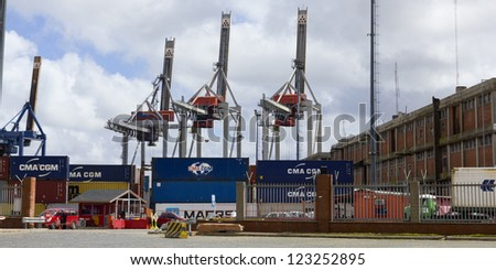 URUGUAY - SEPTEMBER 25: Containers and cranes in Port on September 25, 2012 in Montevideo, Uruguay. It is one of the largest ports of South America and an important transit area for loads of Mercosur