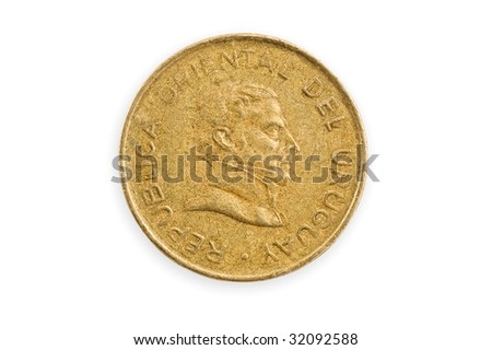 Uruguayan coin, close up, isolated, clipping path. - stock photo