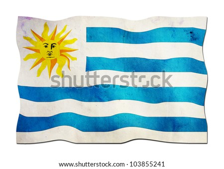 Uruguayan Flag made of Paper - stock photo