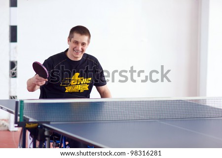 URYUPINSK- RUSSIA - MARCH 17: athlete chair person wheel table tennis, ping-pong, disabled athlete, Alexander Gorsky (pictured), 14 Open  Uryupinsk NS Demidenko, Uryupinsk-Russia, March 17 2012. - stock photo