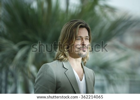 US actor Brad Pitt poses during the photocall of 'Killing them Softly' presented in competition at the 65th Cannes film festival on May 22, 2012 in Cannes. - stock photo