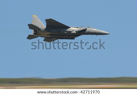 US Air Force jet with motion blur and high speed - stock photo