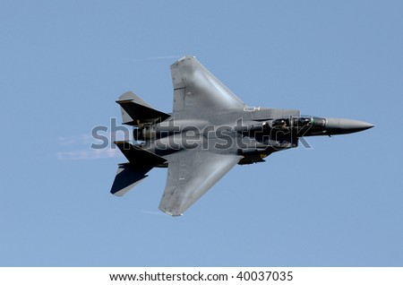 US Air Force jetfighter moving at high speed - stock photo
