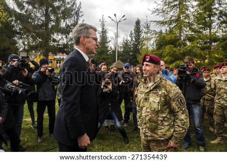 US Ambassador to Ukraine Jeffrey Payette come to welcomes american soldiers, who come to Yavorovsky polygon in the Lviv region, where to begin exercises Fearless Guardian-2015.