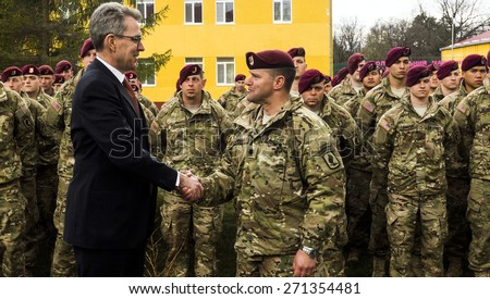 US Ambassador to Ukraine Jeffrey Payette come to welcomes american soldiers, who come to Yavorovsky polygon in the Lviv region, where to begin exercises Fearless Guardian-2015. - stock photo
