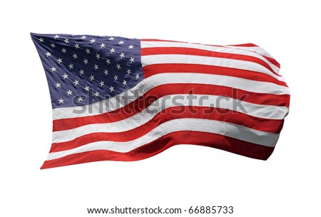 US-American Flag, isolated on white background - stock photo