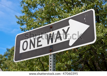 US American one way sign - stock photo