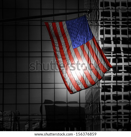 US american symbol flag over Black and white modern LA city buildings - stock photo