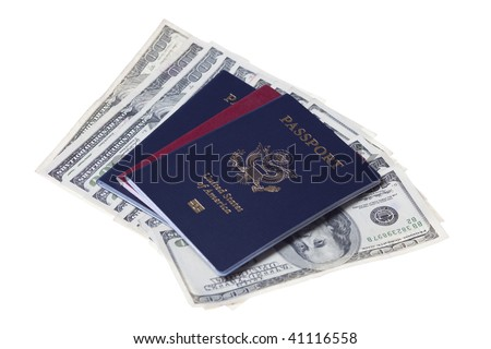 US and Russian passports with stack of US 100 dollars bills - stock photo