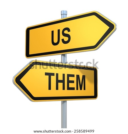 us and them road signs pointing in different directions - stock photo
