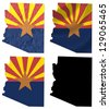 US Arizona state flag over map collage - stock photo