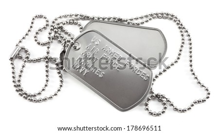 US Armed Forces Silver Dog Tags  - stock photo