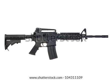US Army carbine isolated on a white background - stock photo