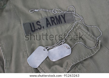 us army dog tags - stock photo