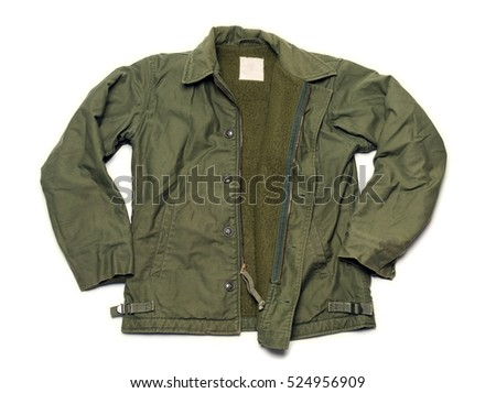US Army Green Military Jacket on White Background