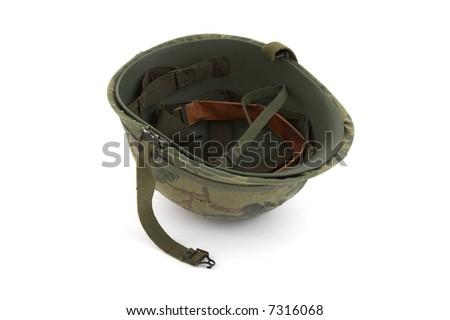 US Army helmet - Vietnam era - on white background - stock photo