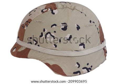 us army helmet with a desert camouflage cover - stock photo