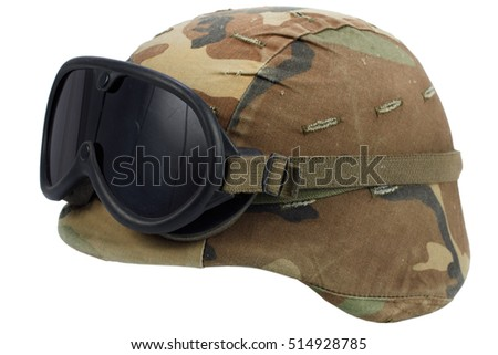 us army kevlar helmet with goggles isolated on white