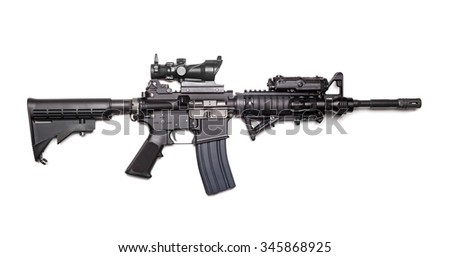 US Army M4A1 Carbine isolated on a white background, studio shot - stock photo