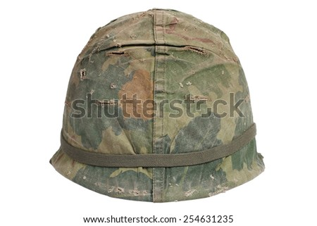 US Army M1 helmet with camouflage cover Vietnam war period isolated - stock photo