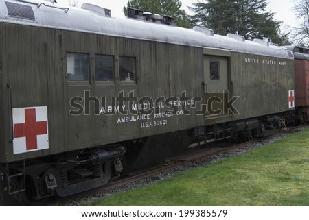 US Army Medical Service ambulance kitchen car at Northwest Railway Museum, Snoqualmie, Washington State, USA - stock photo